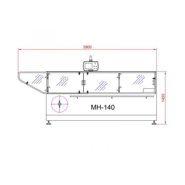imagen producto Postpack envasadora horizontal MH-140 medidas