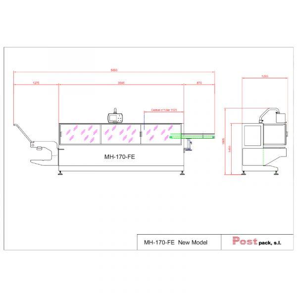 imagen producto Postpack envasadora horizontal MH-170-FE nuevo modelo medidas