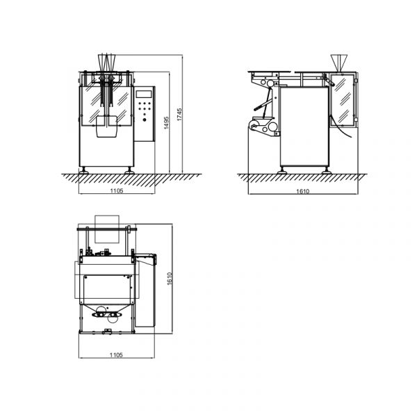 imagen producto Postpack envasadora vertical TD80 esquema medidas