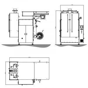imagen producto Postpack envasadora vertical VM5 esquema medidas